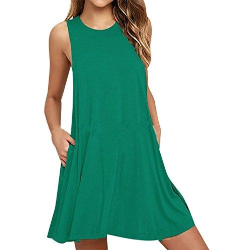 Rectos ISSHE Informales Casual Mujer Vestidos Sin Mujer Anchos Redondo Camiseros Cortos Vestido Sueltos Vestidos Pasto Señora Vestir Diarios Casuales Vestidos Playeros Bonitos Mangas Verde Verano Cuello 00Bqxw