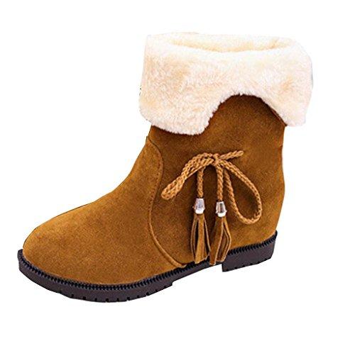 Herbst Winter Damen Bowknot Flache Stiefel Covermason Schneestiefel Schuhe Gelb