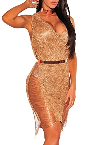 lovecarnation Women's Sexy V-Neck Woolen Sweater Tank Dress Bikini Swimsuit Cover-UPS Tops Semi-Sheer Cover Up Rose Gold S (Sweater Cover)