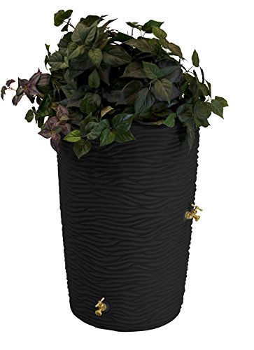 Good Ideas IMP-L50-BLK Impressions Palm Rain Barrel, 50-Gallon, Black