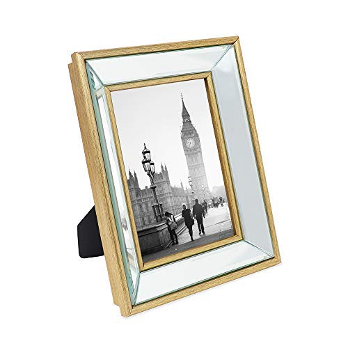 Isaac Jacobs 5x7 Gold Beveled Mirror Picture Frame - Classic Mirrored Frame with Deep Slanted Angle Made for Wall Décor Display, Photo Gallery and Wall Art (5x7, Gold) (Gold Mirrors Frame)