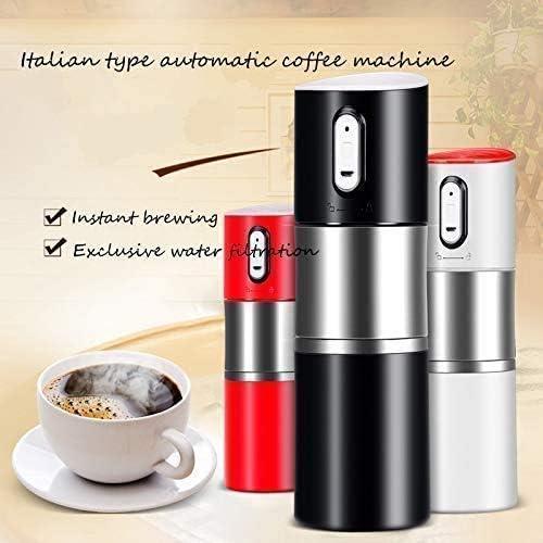 PXX Machine À Café, Portable Extérieur Voiture Machine À Café, 1Pc Mini Machine À Café Automatique Rechargeable Italienne Cafetière, Grain de Café Moulin Affûteuse, Rouge