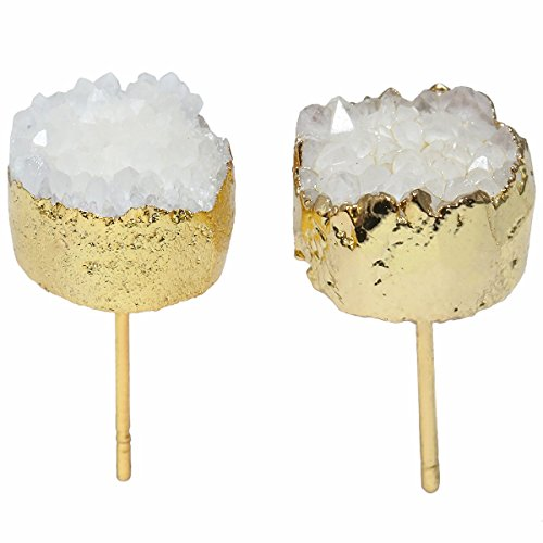 TUMBEELLUWA Druzy Stud Earrings for Women Titanium Coated Geode Quartz Crystal Jewelry, White
