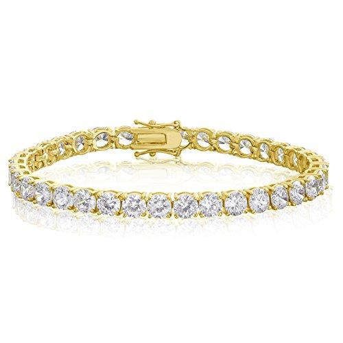 NYC Sterling Women 5mm Traditional Classic Brilliant Cut Round Cubic Zirconia Diamond Tennis Bracelet (Yellow Gold)