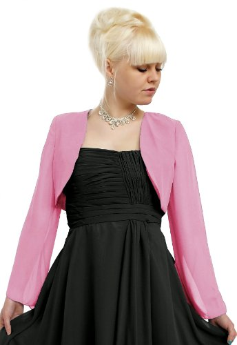 Elegante diseño en varios colores de chifón Bolero (CP022) Rosa