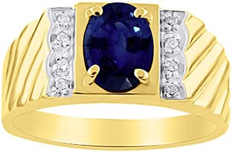 Mens Simulated Sapphire & Diamond Ring 14K Yellow Gold Band