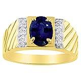 Mens Simulated Sapphire & Diamond Ring 14K Yellow Gold Band