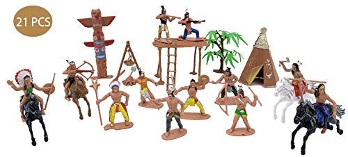21 Pcs Plastic Indian Figures Playset Toy Native American Figures with Horse, Tent, Totem etc.