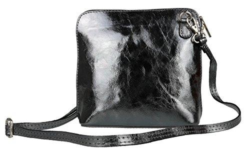 Girly Handbags - Bolso cruzados de Piel para mujer gris