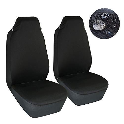 Elantrip Waterproof Front Bucket Seat Covers High Back Seat Cover Universal Fit Water Resistant Seat Protector Airbag Compatible for Cars SUV Truck, Black 2 PC