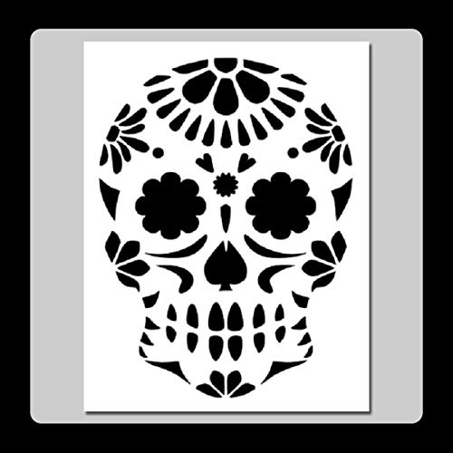 7 X 9 inch Floral Sugar Skull Face Stencil Template Day of The Dead/Mexican Halloween/Death]()
