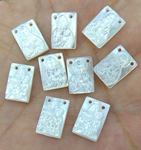 (Double Drilled- 20pcs White Mother of Pearl Virgin Mary Oval Cameo,Rectangle,Disc,Heart Pearl Shell Cabochons 12x16mm )