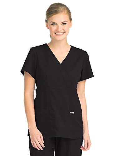 Grey's Anatomy Signature Women's Junior Fit 3 Pocket Mock Wrap Scrub Top, Black, (Signature Mock Wrap)