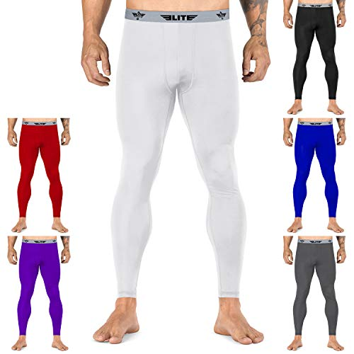 Elite Sports Workout Standard MMA BJJ Spats Base Layer Compression Pants Tights (Best Base For Mma)