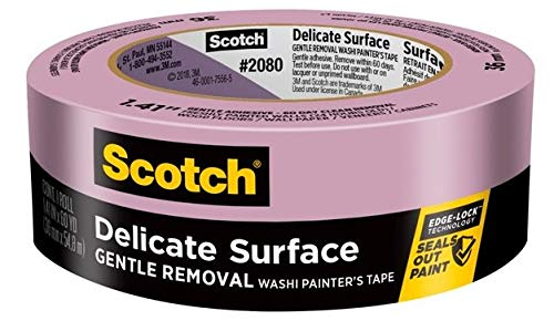 3M Scotch-Blue 2080 Safe-Release Delicate Surfaces Painters Masking Tape , 19 lbs/in Tensile Strength, 60 yds Length x 1-1/2