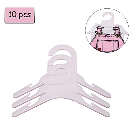 Delifur Pet Apparel Hangers Pink and White Plastic Dog Clothes Rack Hanger Pack of 10