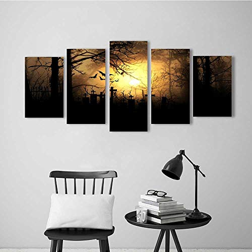 Frameless Paintings Five Pieces Painting Halloween Night Illuminate The Graveyard to liven up and Energize Any Wall or Room.