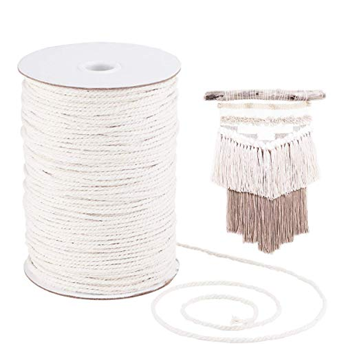 Rice White Cotton Cord,Vanvler 3mm 200m Macrame Cotton Cord for Wall Hanging Dream Catcher Clearance Sale