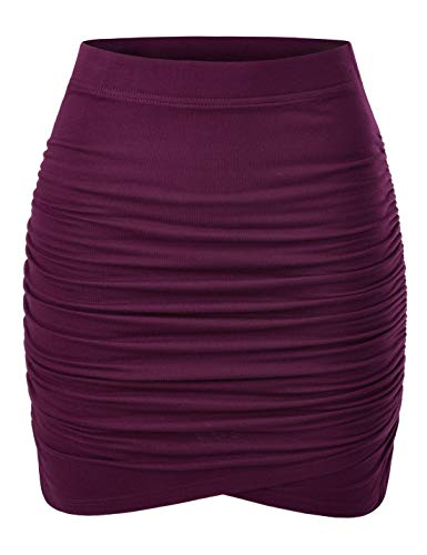 NEARKIN (NKNKWSK66 Women Fitted Stretch Shirring Draped Wrap Tulip Mini Skirt Wine US XL(Tag Size 2XL)