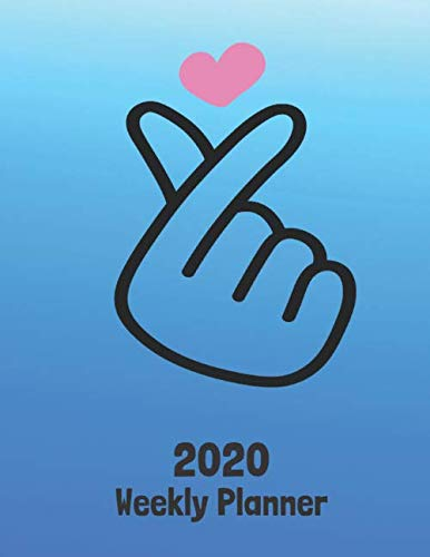 2020 Weekly Planner: K-POP Finger Heart 52 Week Journal 8.5 x 11 inches for Women, Academic Organizer Monthly Calendar Scheduler Appointment Agenda Notebook Planners