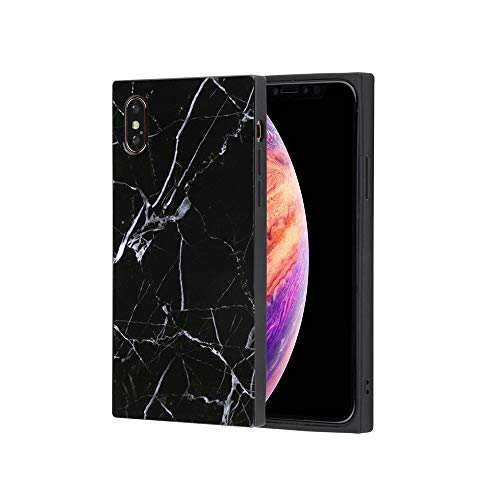 iPhone x Rectangle Case,Marble Square iPhone Xs Case,Soft Silicone Rubber Gel Box Granite Mobile Cover Rectangle Black Marble Phone Case for iPhone X/XS
