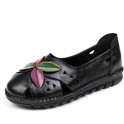 Chagana Sandale Plate Ville De Noir En Ballerine Ethnique Casual Chaussures Chaussure Cuir Femme pqHpAwr