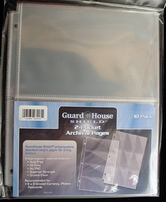 2 Pocket Currency Storage Pages for Graded Bills PACK of 10 GuardHouse Shield (Graded Currency)