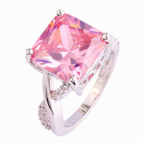Women's 925 Silver Plated Princess Cut Wedding Ring US Size 7 - 9