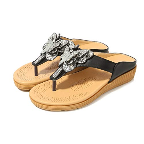 Bohemian Sandals for Women,YuhooSUN Rhinestone Thick-Bottomed Flip-Flops Comfort Walking Slippers Beach Shoes Black