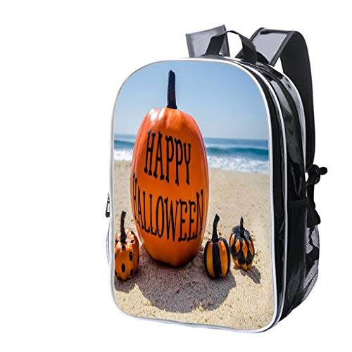 High-end Custom Laptop Backpack-Leisure Travel Backpack Beach Happy Halloween Background with Pumpkins Water Resistant-Anti Theft - Durable -Ultralight- Classic-School-Black ()