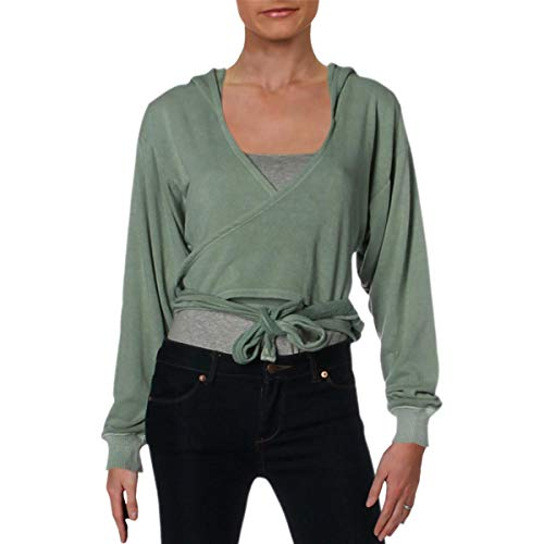 - FP Movement Womens Ribbed Trim Cropped Hoodie Green M