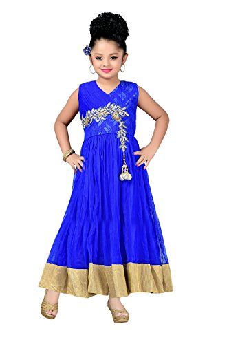 Aarika Girl's Self Design Net Fabric Party Wear Ball Gown (G-11888-BLUE_40_15-16 Years) by Aarika