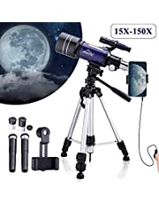 MAXLAPTER Telescope for Kids Astronomy Beginners, 150X Portable Travel Scope 300/70 HD Large View Refractor with Camera Wire Shutter, Smartphone Adapter and Backpack