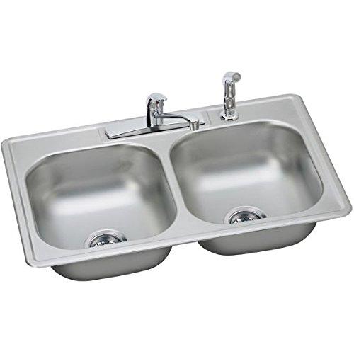 Elkay DD233224DF 22 Gauge Stainless Steel Double Bowl Top Mount Kitchen Sink Kit, 33 x 22 x 7.0625'