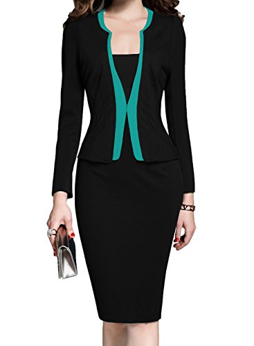 MUSHARE Women's Colorblock Wear to Work Business Party Bodycon One-Piece Dress (X-Large, Black+Blue)
