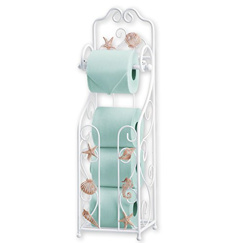Collections Etc Shell Toilet Paper Holder and Stand with Scrolling Deisng- Bathroom Décor