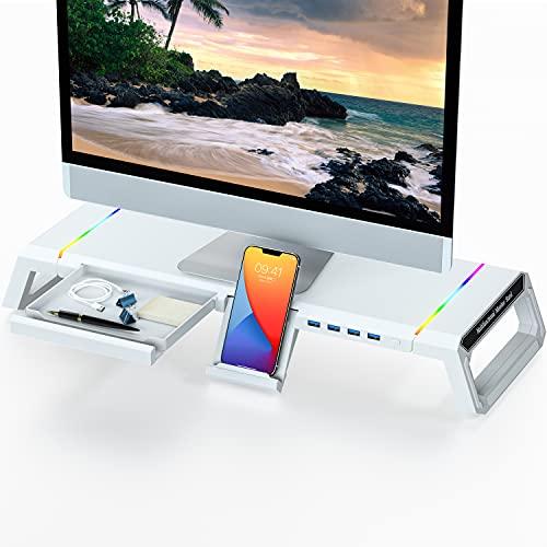 stand soporte monitor con hub usb y rgb hasta 21kg blanco