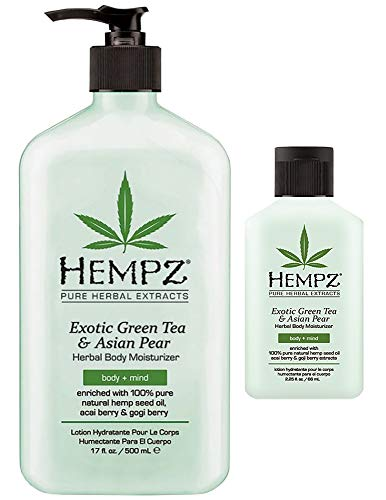 Conditioner Asian Pear - Natural Herbal Body Moisturizer with Pure Hemp Seed Oil, Green Tea and Asian Pear 1-17 oz + 1-2.25 Travel Size | Shrink Wrapped and in Strong Box for Storage