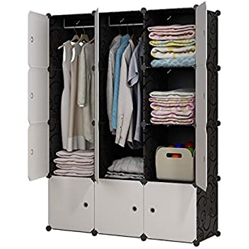 kousi portable closet clothes wardrobe bedroom armoire storage organizer with doors. Black Bedroom Furniture Sets. Home Design Ideas