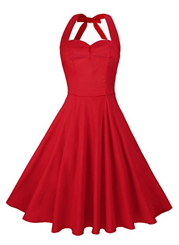 Anni Coco Women's Marilyn Monroe 1950s Vintage Halter Swing Tea Dresses Red Large
