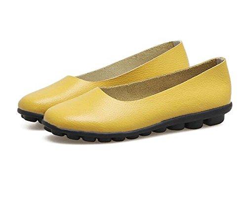 Zapatos de Guisantes de Las Mujeres nuevos Zapatos de la Madre de Primavera y Verano Planos Inferiores Suaves Negro/Marrón/Blanco/Amarillo Tamaño 35-40 Amarillo