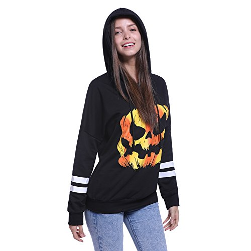 Fancyqube Women's Halloween Scary Pumpkin Face Sweatshirt Pullover Hoodie Black XL