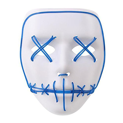 CIDEROS LED Glow Scary Mask Halloween Cosplay EL Wire Light Up Costume Mask for Festival Parties Halloween Costumes