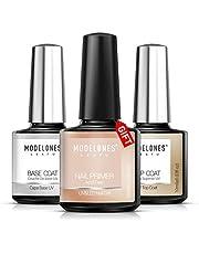 Modelones Gel Nail Polish 3Pcs 0.33 Oz Primer No Wipe Top and Base Coat Set,Non-acid Nail Primer,Shiny and Long-Lasting UV/LED Soak Off Gel Polish