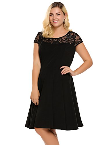 Womens Plus Size Lace Cap Sleeve Fit and Flare Vintage Party Dress - Involand Ladies High Waist Floral Lace Tea Dress, Black, 16