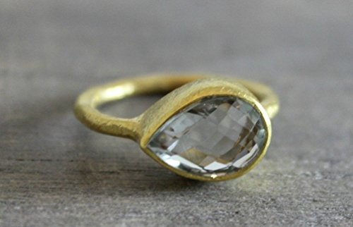 Pear Shape Green Amethyst Gold Plated Sterling Silver Ring, Size 8