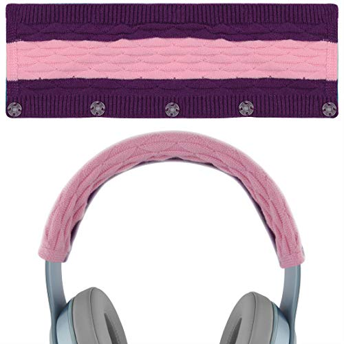 Geekria Sweater Knitting Headphone Headband for Beats Solo3, Solo2 Wireless Headphones/Stretchable Knit Fabric Headband Cover/Comfortable Protector Sleeve (Pop Violet)