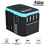 Unidapt International Power Adapter Travel Charger - All in one Universal World Usb Travel Adaptor with 4-Usb for Euro, AU, UK, USA - 160 Countries (Blue)
