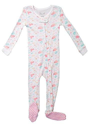 Footed Pajama Set (Baby Girl Onesie Sleepwear Long Sleeve Top & Non-Skid Toddler Footed Pajama Set (4T, White/Mermaid))