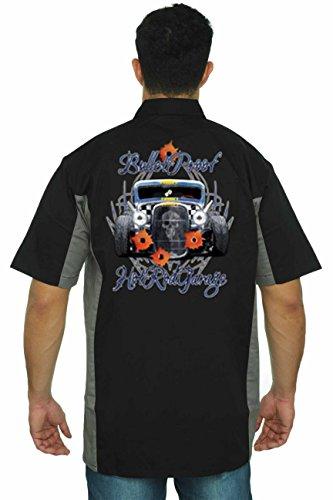 Hot Rod Mens Button Front (SHORE TRENDZ Men's Mechanic Work Shirt Bullet Proof Hot Rod Garage Black/Grey (5XL))